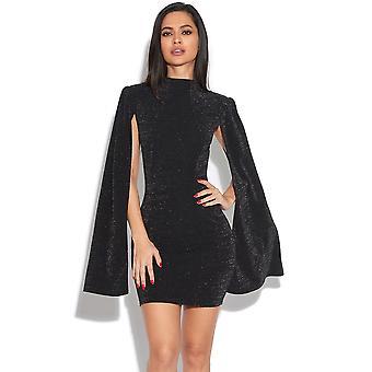 Cape Sleeve Glitter Dress