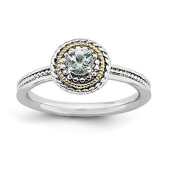 2,25 mm argento lucido Polo set rodiato e 14 k impilabile espressioni Sterling Silver anello acquamarina-
