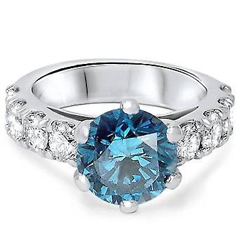 3 1 / 2ct Blue Diamond Engagement Ring 14K witgoud
