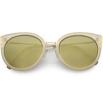 Women's Oversize Cat Eye Sunglasses Round Colored Mirror Lens 55mm