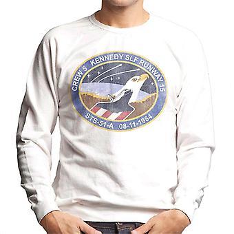 NASA STS 51 A Discovery Mission Badge Distressed Men's Sweatshirt