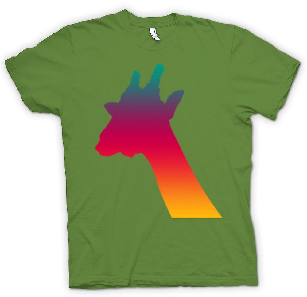 Heren T-shirt-Rainbow Giraffe psychedelische Design