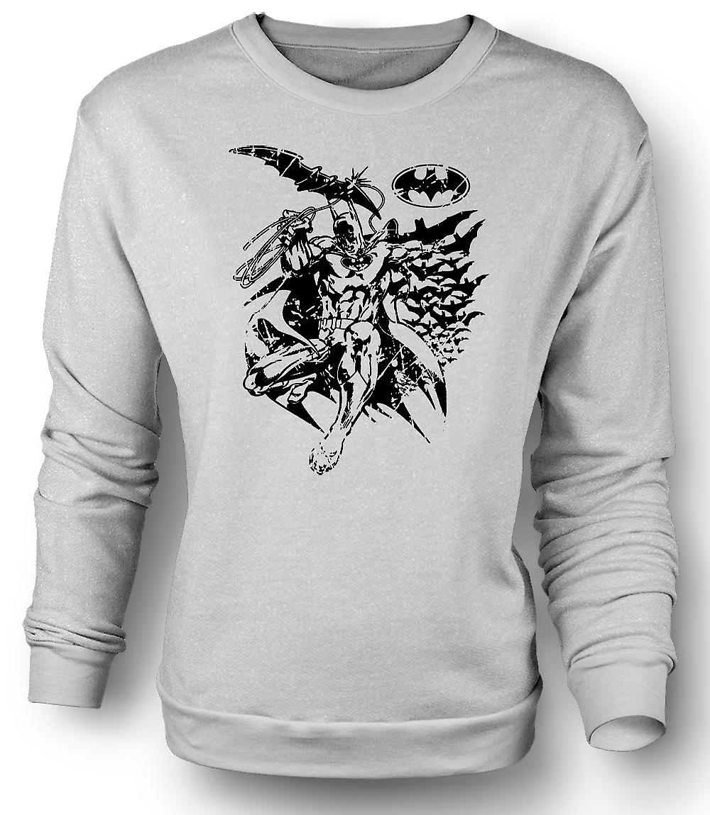 Mens Sweatshirt Batman Fledermäuse Caped - Crusader - BW
