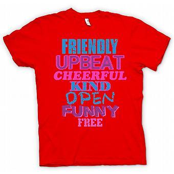 Mens T skjorte Friendly, fengende, munter, slag, åpne, morsomme, gratis