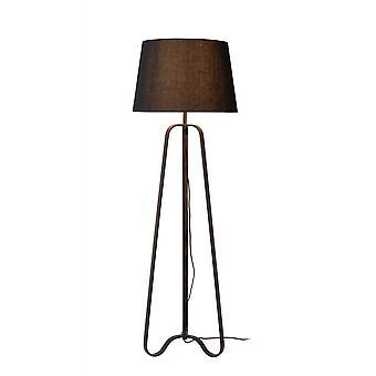 Lucide Capucino klassieke driehoek staal roest bruine en zwarte vloerlamp