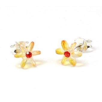 The Olivia Collection Sterling Silver Orange Crystal 3d Flower Stud Earrings