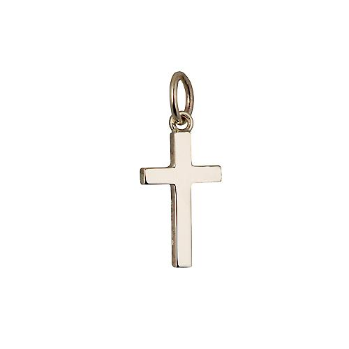 9ct Gold 15x9mm plain solid block Cross