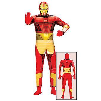 Mens Bionic Iron Superhero Fancy Dress Costume