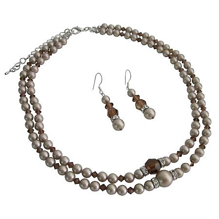 Champagne Pearls Double Stranded Necklace Set w/ Smoked Topaz Crystals