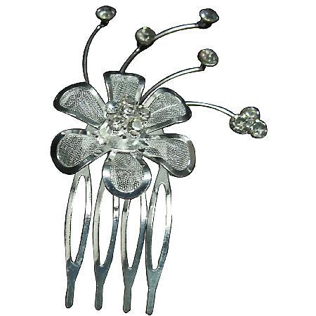 Silver Plated Net Flower Rhinestone Hair Tiara Comb