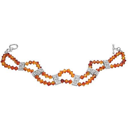 Fall Jewelry Fire Opal Swarovski Crystals Double Stranded Diamante