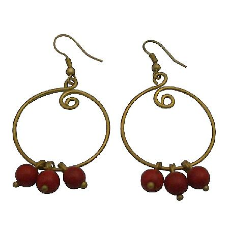 Coral Jewelry For You Or As Gifts Coral Dangling Hoop Earrings
