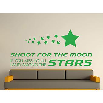 Shoot For The Moon Wall Art Sticker -  Green