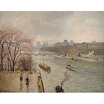 O Louvre, manhã, tempo chuvoso, Camille Pissarro, 50x40cm