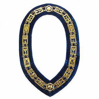 Cryptische Mason-Royal & Selecteer ketting kraag-goud/zilver op blauw + gratis geval