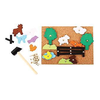 Bigjigs Toys Pin-a-Shape Tap Tap Art Play Set (Farm) Arts Crafts Children Kids