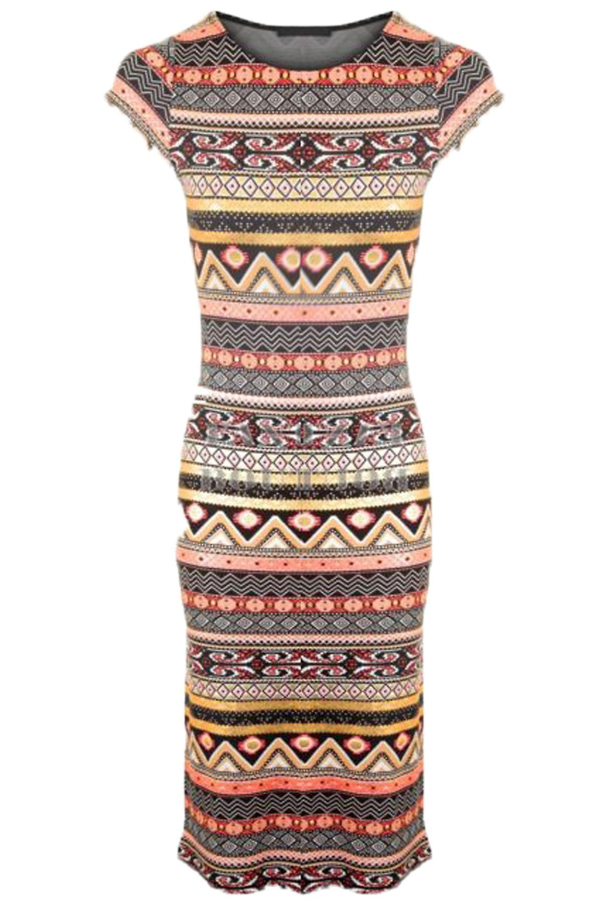 Ladies Floral Foil Aztec Snake Print Mesh Insert Midi Long Bodycon Women's Dress