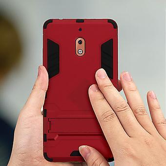 Nokia case 2,1 protection antichoc support de fonction bi-matière-rouge