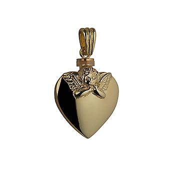 9ct Gold 25x22mm handmade Embossed Angel Heart shaped Memorial Locket