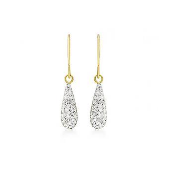 Eternity 9ct Gold Crystal Teardrop Earrings