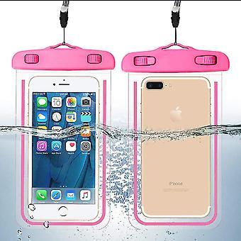 Impermeable teléfono móvil bolsillo-brillo en el rosa oscuro
