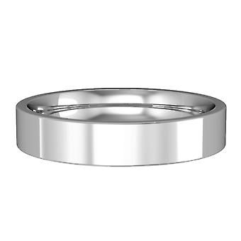 Jewelco London 9ct White Gold - 4mm Essential Flat-Court Band Commitment / Wedding Ring