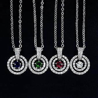 18K White Gold Plated Multi Circle Cubic Zirconia Pendant