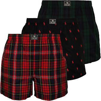 Polo Ralph Lauren 3-Pack Woven Tartan & Polo Player Boxer Shorts, Red/Green/Black