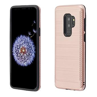 ASMYNA Rose Gold/Black Brushed Hybrid Protector Cover (with Carbon Fiber Accent) for Galaxy S9 Plus