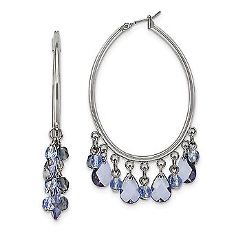Silver-tone Hinged post Light and Dark Blue Crystals Hoop Earrings