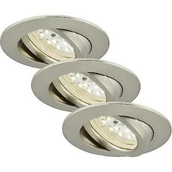LED flush mount light 3-piece set 15 W Warm white Briloner 7209-032 Nickel (matt)