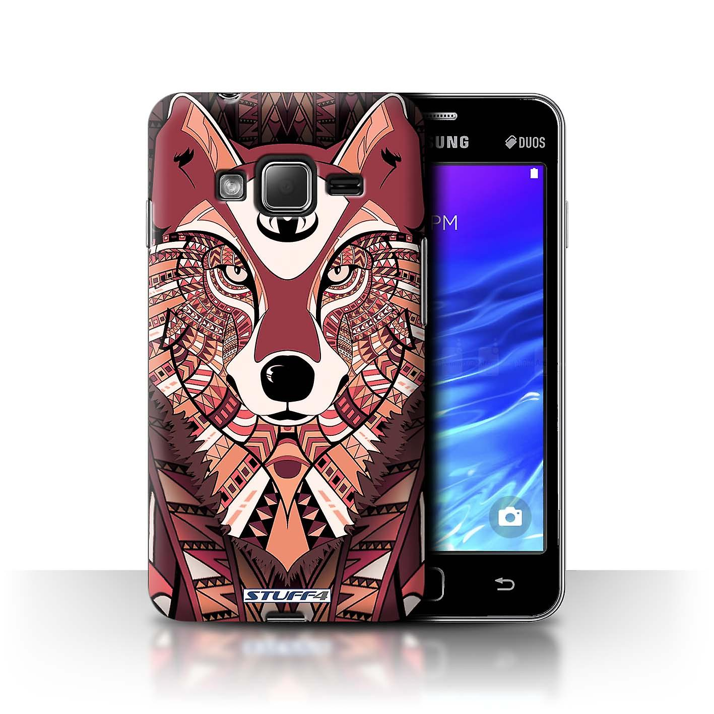 STUFF4 Case/Cover for Samsung Z1/Z130/Wolf-Red/Aztec Animal