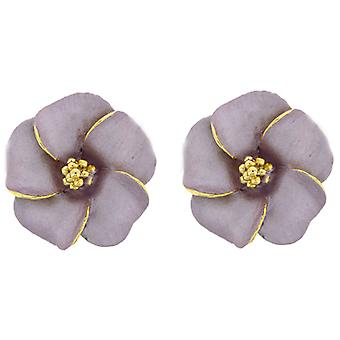 Clip On Earrings Store Large Pastel Pink and Gold Plated Flower Clip On Earrings