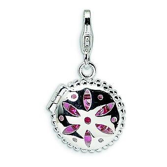 Sterling Silver Crystal Enamel Compact With Lobster Clasp Charm - Measures 26x13mm