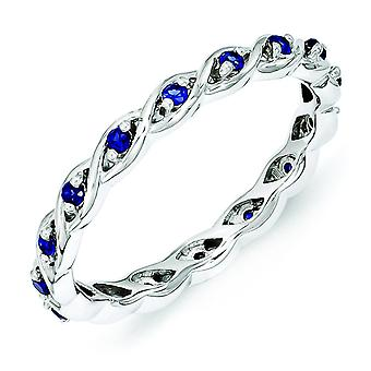 2.5mm Sterling Silver Stackable Expressions Created Sapphire Ring - Ring Size: 5 to 10