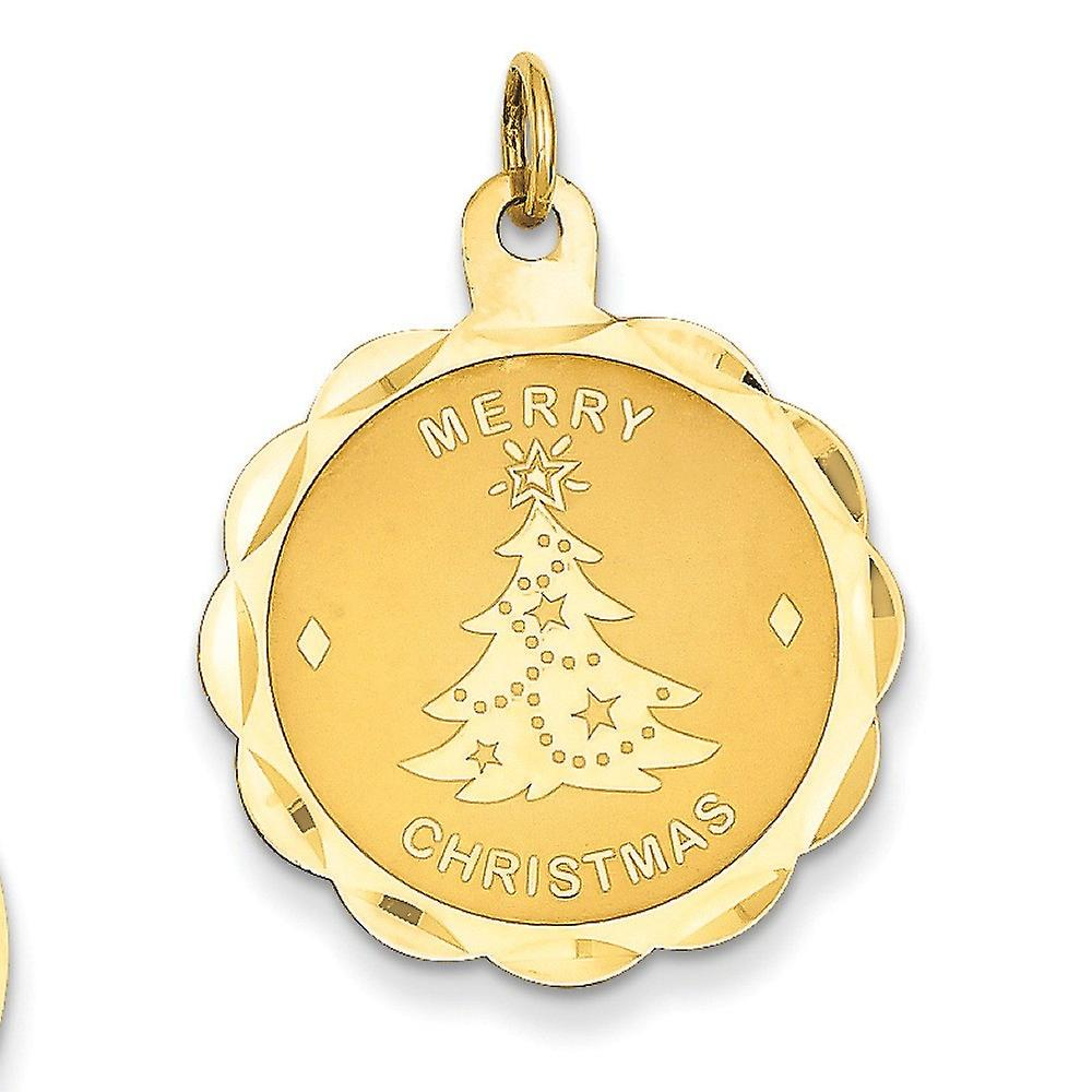 14k jaune or Solid Satin Polished Engravable Laser Etched Merry Christmas Disc Charm - Measures 29.3x22.5mm