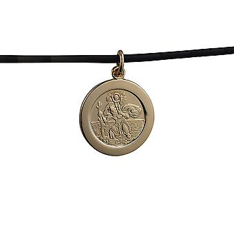 1/20th 14ct yellow gold on Silver 21mm round St Christopher Pendant with car boat train plane on back with a Leather Pendant Cord 22 inches