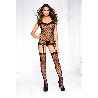 Fishnet Suspender Set With Lace And Attached Stockings-Black
