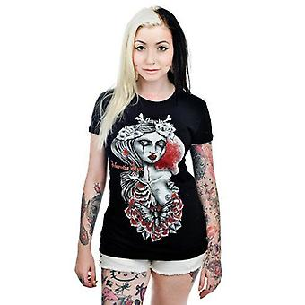 Too Fast Womens Black Acheronita STXY Tshirt Blood Skeleton Tattoo