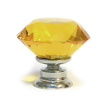 Small Amber Crystal Diamond Cut Glass Knob