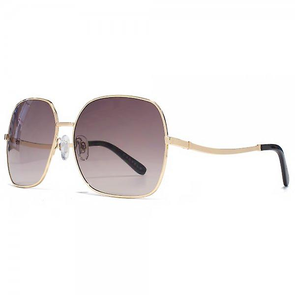 Carvela Metal Square Sunglasses In Shiny Pale Gold