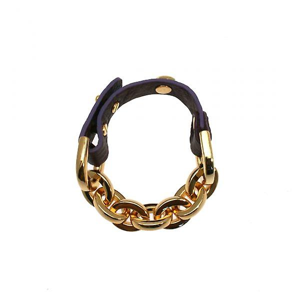 W.A.T Gold Style Chain Bracelet With Leather Strap