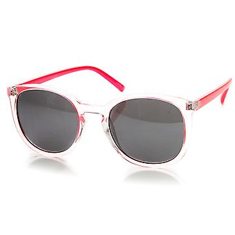 Two-Tone Color P3 Keyhole Round Horn Rimmed Sunglasses