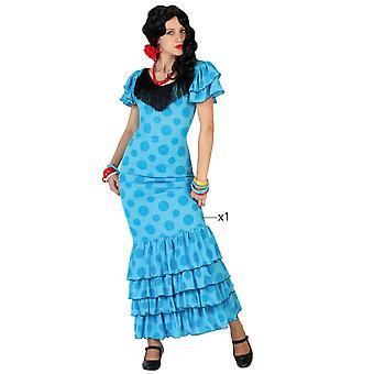 Kvinnor kostymer Flamenco kostym blå