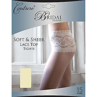 Couture Womens/Ladies Bridal Soft & Sheer Lace Waist Tights (1 Pair)