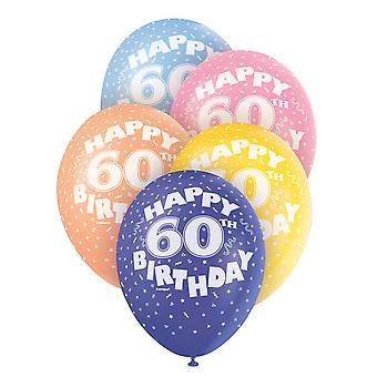 Unique Party 12 Inch 60th Assorted Latex Balloons (Pack Of 5)