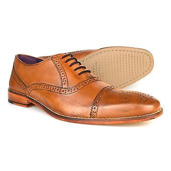 Gucinari Castello Tan læder formelle Brogue sko AMP-008