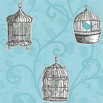 Skylark Teal Wallpaper Birds Birdcage Floral Trail Flowers Leaves Arthouse