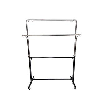Adjustable Double Garment Rail finished in black & chrome