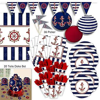 Marine sailor port party decoration set XL 96-teilig for 8 guests Hamburg harbour party package